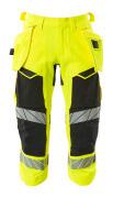 19049-711-1709 ¾ Length Pants with holster pockets - hi-vis yellow/black