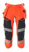 19049-711-22210 ¾ Length Pants with holster pockets - hi-vis red/dark navy