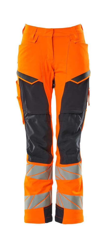 19078-511-14010 Pants with kneepad pockets - hi-vis orange/dark navy
