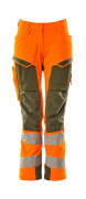 19078-511-1433 Pants with kneepad pockets - hi-vis orange/moss green