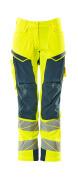 19078-511-1744 Pants with kneepad pockets - hi-vis yellow/dark petroleum