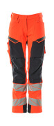19078-511-14010 Pants with kneepad pockets - hi-vis orange/dark navy
