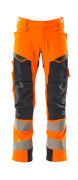 19079-511-14010 Pants with kneepad pockets - hi-vis orange/dark navy