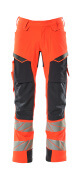 19079-511-14010 Pants with kneepad pockets and holster pockets - hi-vis orange/dark navy