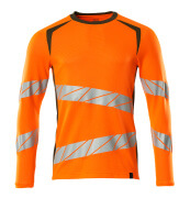 19081-771-1433 T-shirt, long-sleeved - hi-vis orange/moss green