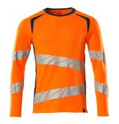 19081-771-1444 T-shirt, long-sleeved - hi-vis orange/dark petroleum