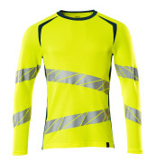 19081-771-1744 T-shirt, long-sleeved - hi-vis yellow/dark petroleum