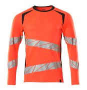 19081-771-22210 T-shirt, long-sleeved - hi-vis red/dark navy