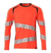 19081-771-22218 T-shirt, long-sleeved - hi-vis red/dark anthracite