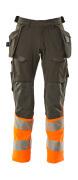 19131-711-01014 Pants with kneepad pockets and holster pockets - dark navy/hi-vis orange