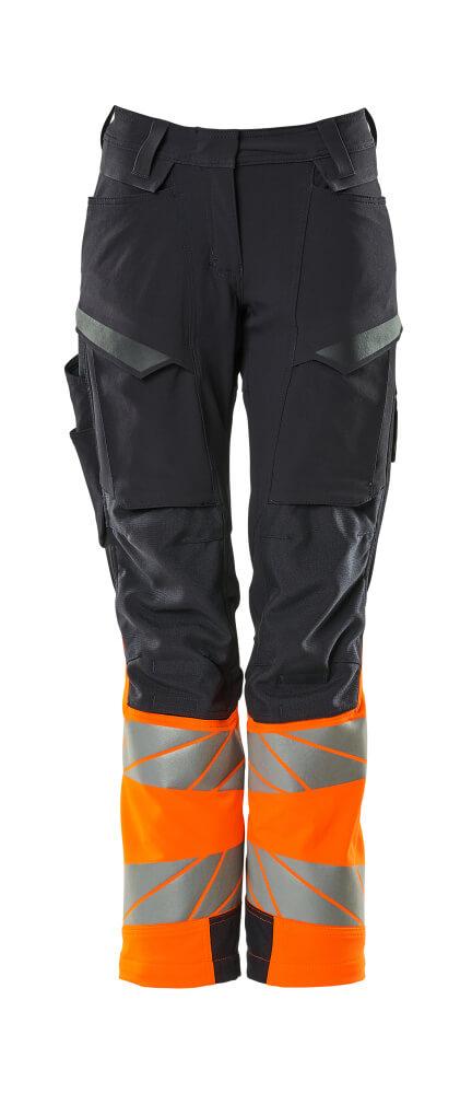 19178-511-01014 Pants with kneepad pockets - dark navy/hi-vis orange