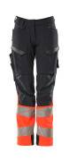 19178-511-01014 Pants with kneepad pockets - dark navy/hi-vis orange