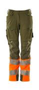 19178-511-3314 Pants with kneepad pockets - moss green/hi-vis orange