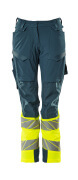 19178-511-4417 Pants with kneepad pockets - dark petroleum/hi-vis yellow