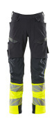 19179-511-01014 Pants with kneepad pockets - dark navy/hi-vis orange