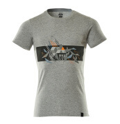 19182-965-0814 T-shirt - grey-flecked/hi-vis orange