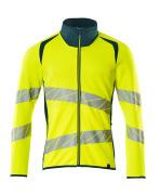19184-781-1744 Sweatshirt with zipper - hi-vis yellow/dark petroleum