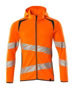 19284-781-1444 Hoodie with zipper - hi-vis orange/dark petroleum