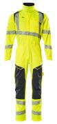 19519-236-17010 Boilersuit with kneepad pockets - hi-vis yellow/dark navy