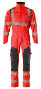 19519-236-22210 Boilersuit with kneepad pockets - hi-vis red/dark navy