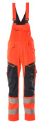 19569-236-14010 Bib & Brace with kneepad pockets - hi-vis orange/dark navy