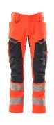 19579-236-14010 Pants with kneepad pockets - hi-vis orange/dark navy