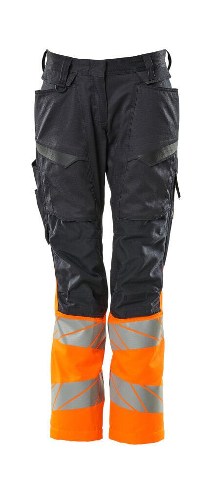 19678-236-01014 Pants with kneepad pockets - dark navy/hi-vis orange