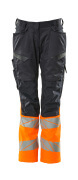 19678-236-01014 Pants with kneepad pockets - dark navy/hi-vis orange