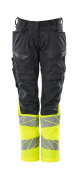 19678-236-01017 Pants with kneepad pockets - dark navy/hi-vis yellow