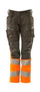 19678-236-1814 Pants with kneepad pockets - dark anthracite/hi-vis orange