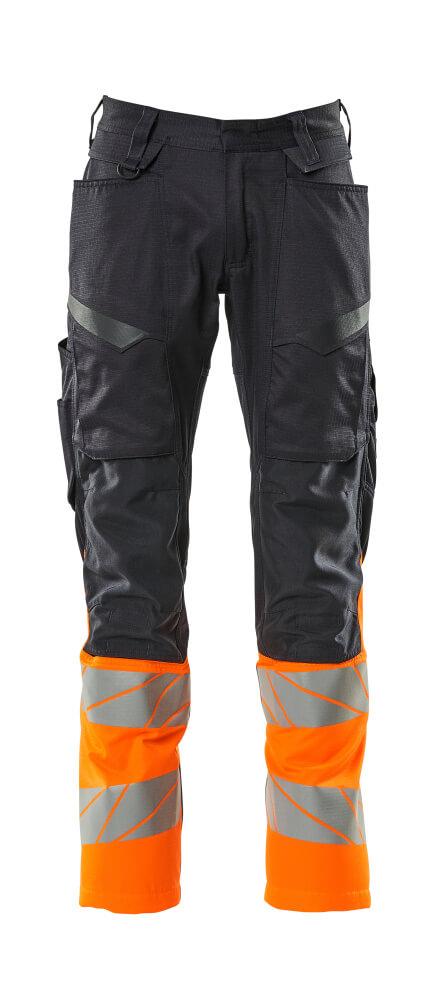 19679-236-01014 Pants with kneepad pockets - dark navy/hi-vis orange