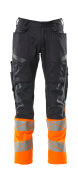 19679-236-01014 Pants with kneepad pockets - dark navy/hi-vis orange