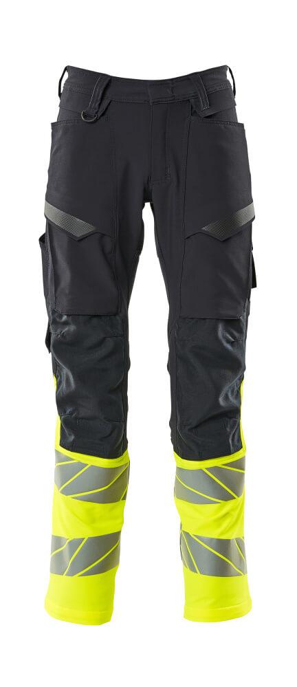 19879-711-01017 Pants with kneepad pockets - dark navy/hi-vis yellow