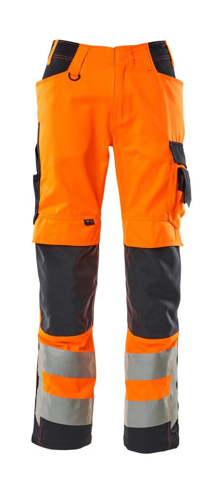 20879-236-14010 Pants with kneepad pockets - hi-vis orange/dark navy