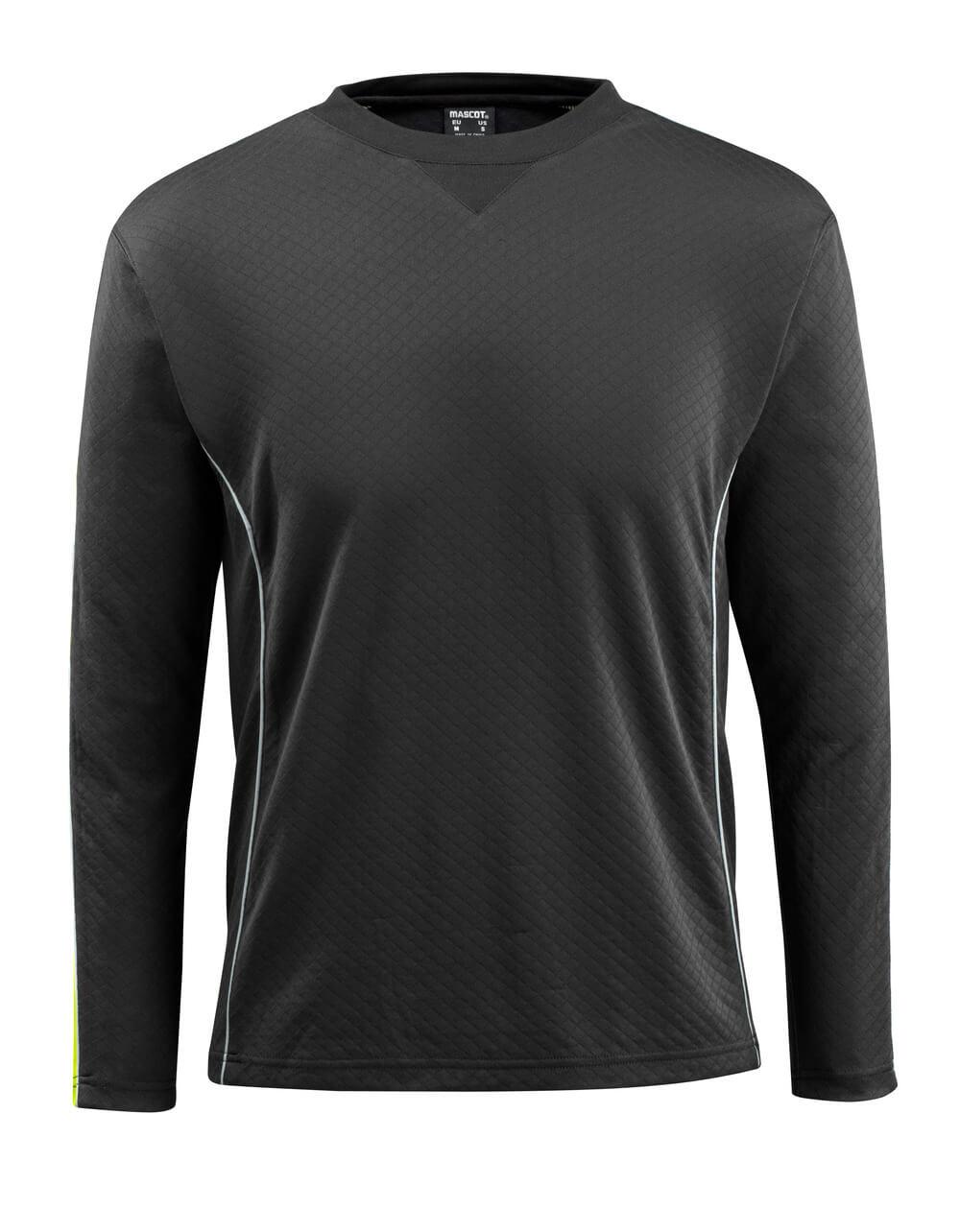 50128-933-0917 T-shirt, long-sleeved - black/hi-vis yellow