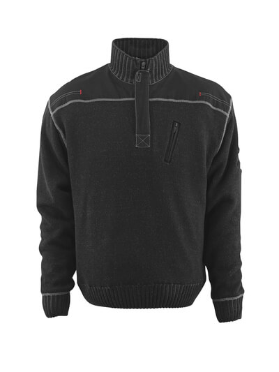 50354-835-09 Knitted Jumper with half zip - black