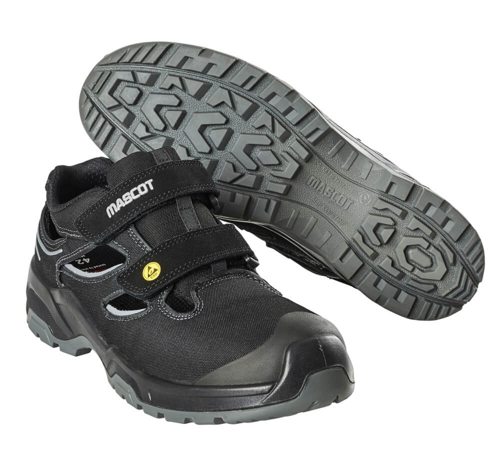 F0100-910-09880 Safety Sandal - Black/Silver